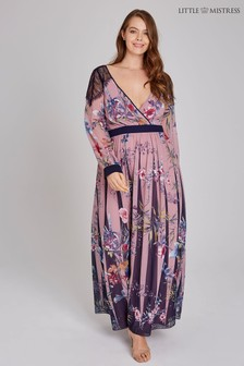 Little Mistress Curve Laced Floral Maxi Dress