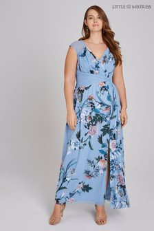 Little Mistress Curve Blue Floral Maxi Dress