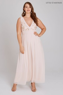 Little Mistress Curve Embroidery Maxi Dress