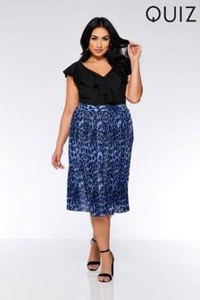 Quiz Curve Leopard Print Skirt