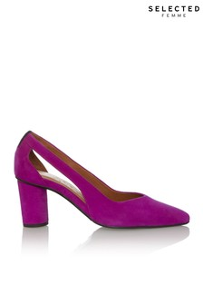 Selected Femme Cutout Suede High Heel Court Shoes