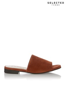 Selected Femme Open Toe Leather Mule Sandals