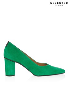 Selected Femme Suede Block Heel Courts