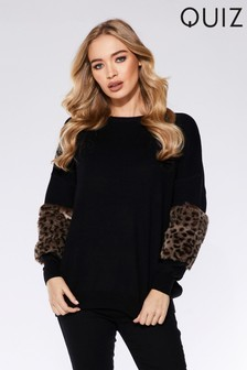 Quiz Faux Fur Sleeve Jumper