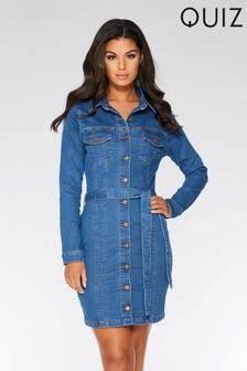 Quiz Denim Tie Belt Dress