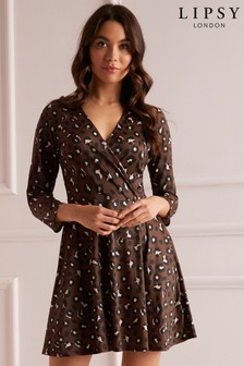 Lipsy Leopard Print Wrap Skater Dress