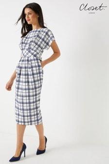 Closet Check Midi Wrap Dress
