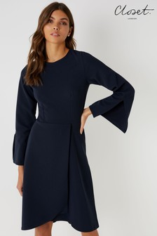 Closet Long Sleeve Wrap Skirt Dress