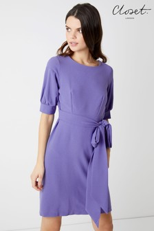 Closet Tie Back Puff Sleeve Dress