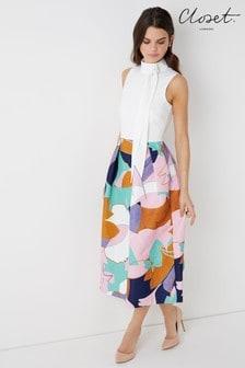 فستان متوسط الطول بدون أكمام من Closet