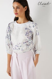 Closet Floral Pleated Balloon Sleeve Top