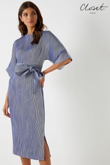 שמלת מידי עם שסע בצד בגזרת קימונו של Closet