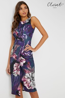 Closet Draped Sleeveless Floral Wrap Dress