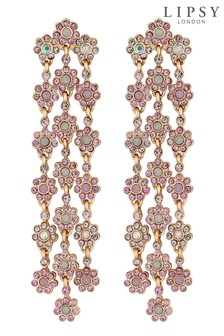 Lipsy Three Strand Floral Chandelier Statement Earring