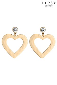 Lipsy Front Facing Flat Heart Hoop Earrings
