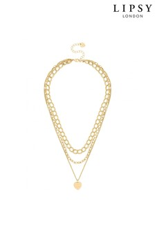 Lipsy Multirow Chain And Heart Pendant Necklace