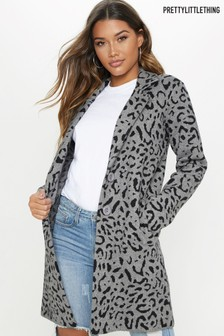 PrettyLittleThing Leopard Knitted Coatigan