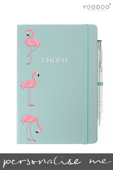 Personalised Pink & Blue Flamingo Soft Touch Notebook & Pen (Pen not personalised) By YooDoo