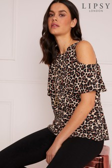 Lipsy Animal Print Cold Sholder Necklace Top