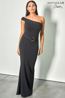 Sistaglam Loves Jessica One Shoulder Ring Belt Bodycon Maxi Dress