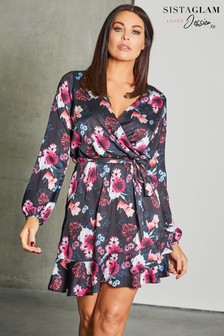 Sistaglam Loves Jessica Floral Print Frill Hem Wrap Dress