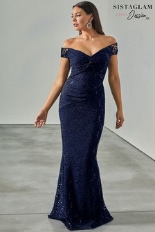 Sistaglam Loves Jessica Sequin Lace Bardot Maxi Dress