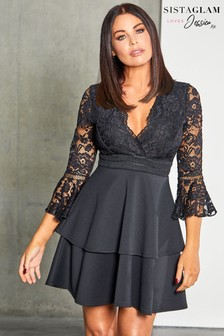Sistaglam Loves Jessica 2 In 1 Tiered Skirt Lace Skater Dress