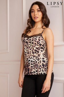 Lipsy Leopard Lace Cami Top