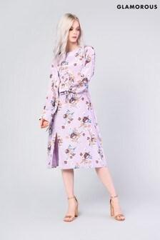 Vestido con estampado floral de satén de Glamorous