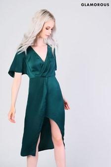 Vestido a media pierna con diseño cruzado de Glamorous