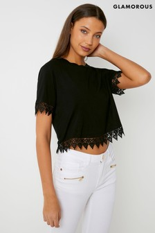 Glamorous Crochet Trim T-Shirt