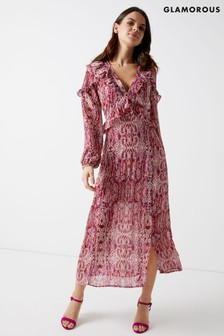 Glamorous Snake Print Long Sleeve Maxi Dress