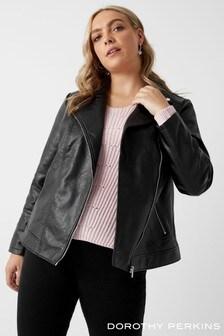 Dorothy Perkins Curve Faux Leather Biker Jacket