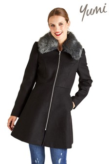 Yumi Fur Collar Zip Swing Coat