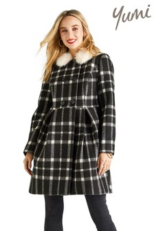 Yumi Monochrome Gingham Swing Coat