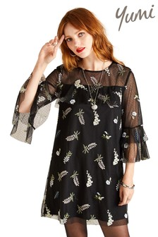 Yumi Embroidered Mesh Ruffle Tunic Dress