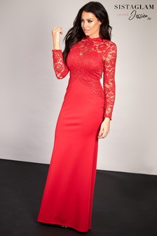 Sistaglam Loves Jessica Wright Lace Long Sleeve Maxi Dress
