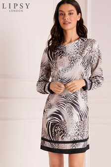 Lipsy Blurred Animal Shift Dress