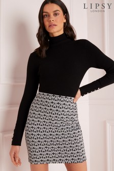 Lipsy Mono Geo Mini Skirt