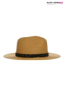 Alice Hannah Sparkle Band Straw Fedora Hat