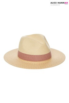 Alice Hannah Contrast Band Straw Fedora Hat