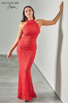 Sistaglam Loves Jessica High Halter Neck Sequin Maxi Dress