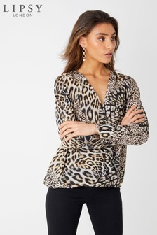 Lipsy Leopard Print Wrap Top