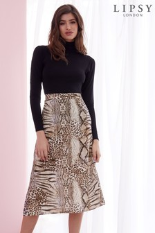 Lipsy Animal Slip Midi Skirt