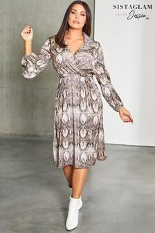 Sukienka midi z paskiem Sistaglam, ze zwierzęcym nadrukiem