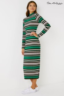Miss Selfridge Stripe Ribbed Midi Dress