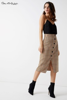 Miss Selfridge Check Popper Pencil Skirt