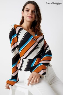 Miss Selfridge Stripe Peplum Wrap Top