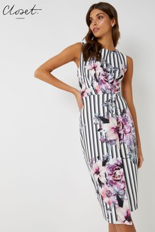 Closet Draped Sleeveless Striped Floral Wrap Dress