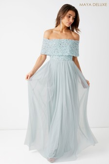 Maya Double Ruffle Bardot Scattered Sequin Maxi Dress